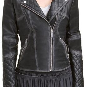 Black Quilted Asymmetrical Style Womens Moto Jacket