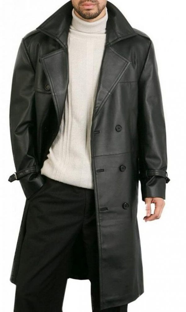 Augusta Guys Double Breasted Mens Black Overcoat