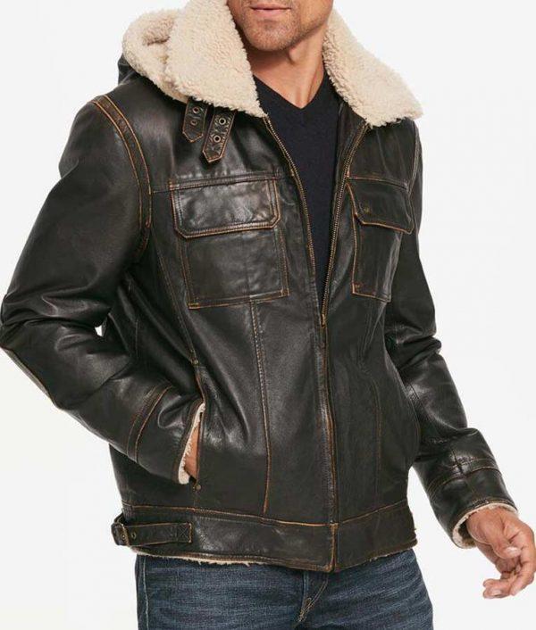 Mens Brown Waxed Aviator Hooded Jacket