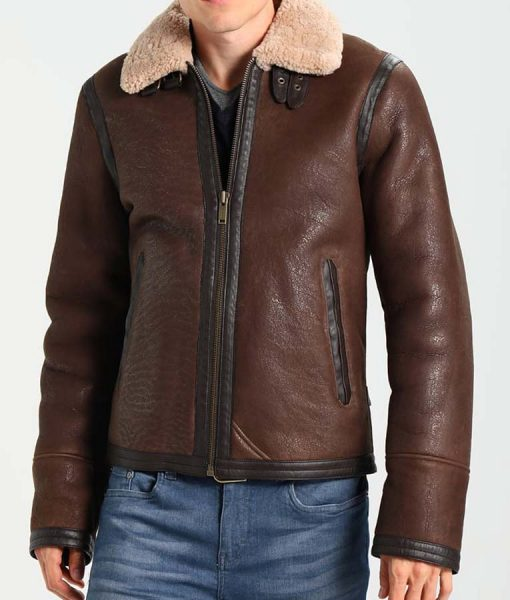 Aviator Style Mens Dark Brown Shearling Leather Jacket