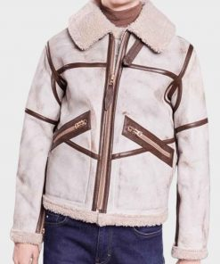 Mens Aviator Style White Waxed Shearling Leather Jacket