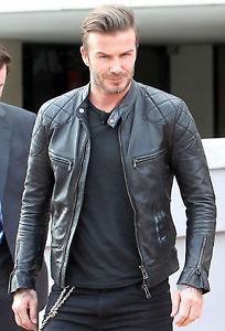 Black David Beckham Biker Style Leather Jacket