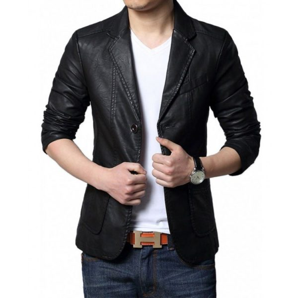 Casual Mens Black Leather Blazer