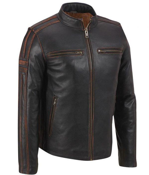 Café Racer Brown Stripe Mens Leather Jacket