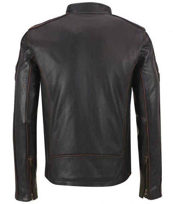 Mens Biker Brown Stripe Café Racer Jacket