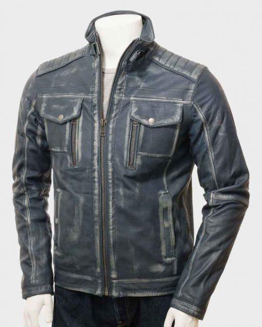 Mens Café Racer Blue Waxed Leather Jacket
