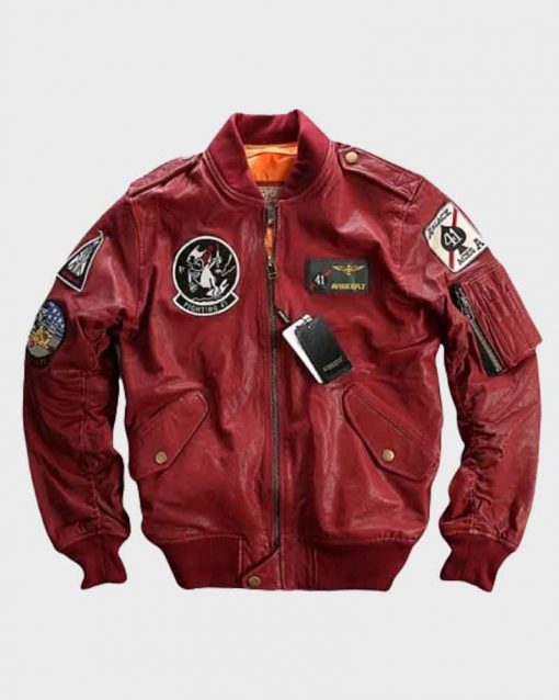 Carrier Air Wing Red Baseball Bomber Leather Jacket
