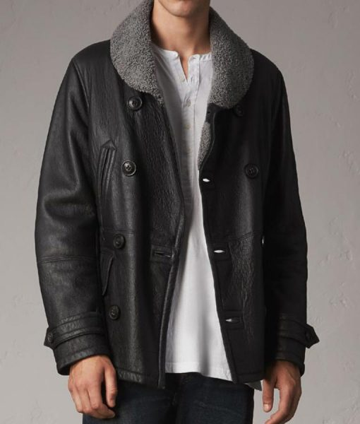 Shearling Double Breasted Mens Black Pea Coat