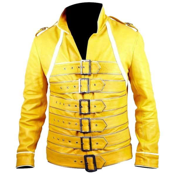 Freddie Mercury Queen Band Yellow Leather Jacket