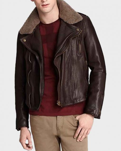 Harry Styles Brown Motorcycle Leather Jacket with Fur Collar