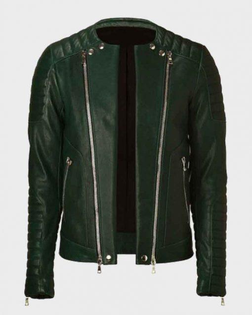 Kid Cudi Padded Design Green Leather Jacket