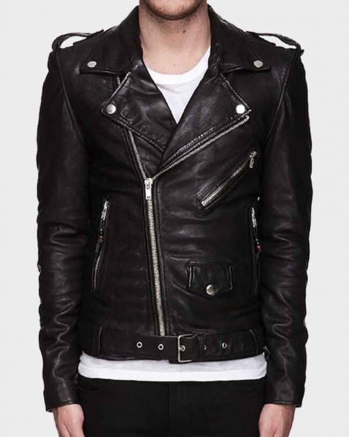 Asymmetrical Zipper Mens Motorcycle Leather Jacket