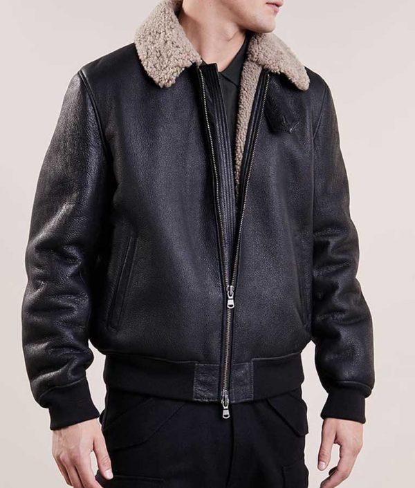 Aviator Mens Black Bomber Leather Jacket