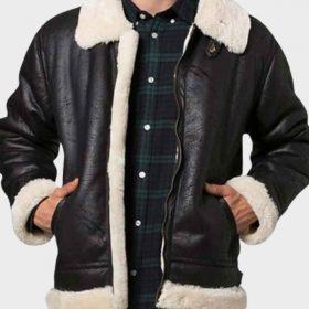 Aviator Mens Black Shearling Jacket