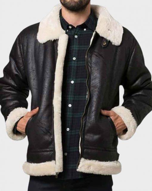Mens Aviator Style Black Shearling Leather Jacket