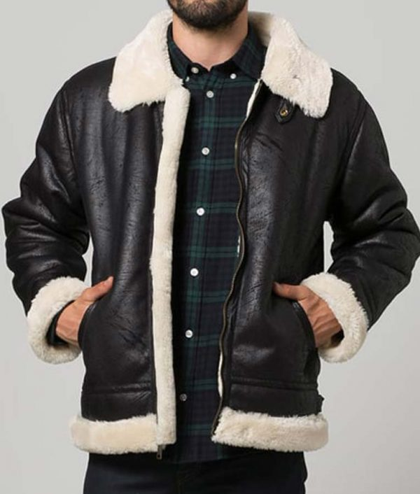 Mens Black Aviator Shearling Leather Jacket