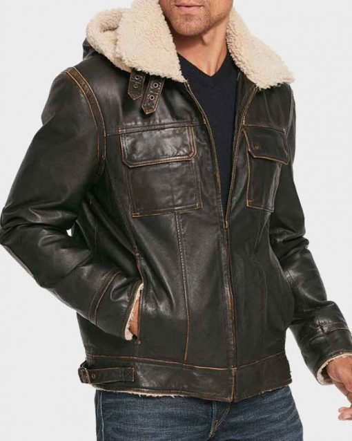 Aviator Mens Brown Waxed Shearling Hooded Leather Jacket