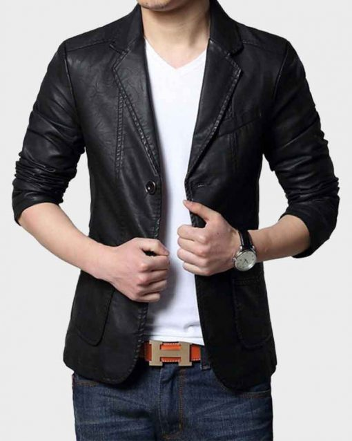 Casual Black Mens Leather Blazer Jacket