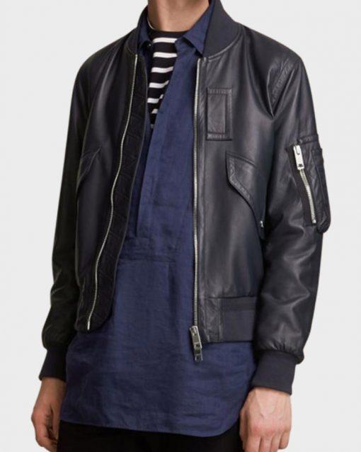 Mens Flight Bomber Multi Pockets Black Leather Jacket