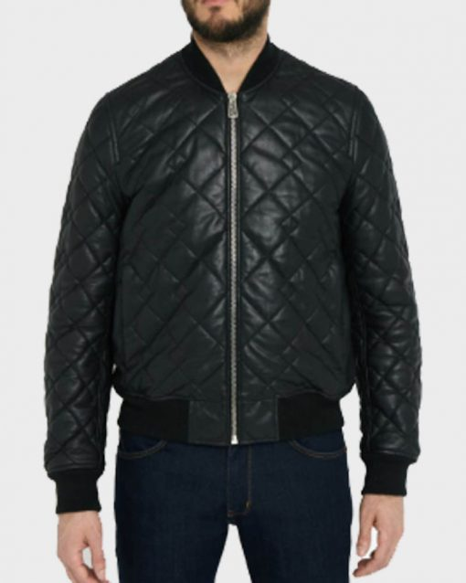 Mens Bomber Black Quilted Leather Jacket