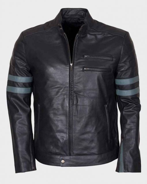 Mens Mayhem Retro Blue Stripe Café Racer Leather Jacket