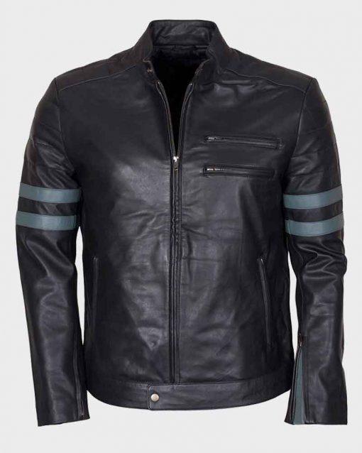 Mens Mayhem Retro Blue Stripe Café Racer Leather Jacket