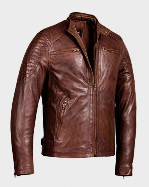 Mens Brown Waxed Detailed Café Racer Leather Jacket
