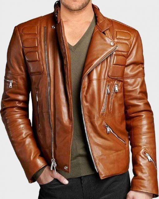 Mens Slim fit Padded Brown Motorcycle Leather Jacket