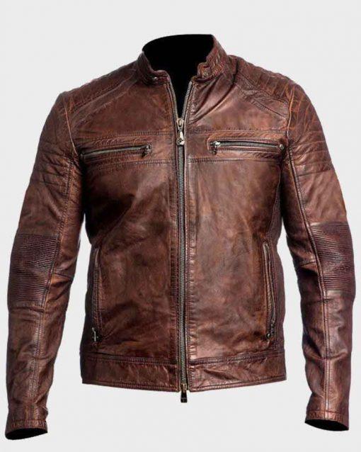 Mens Café Racer Vintage Slimfit Brown Motorcycle Leather Jacket