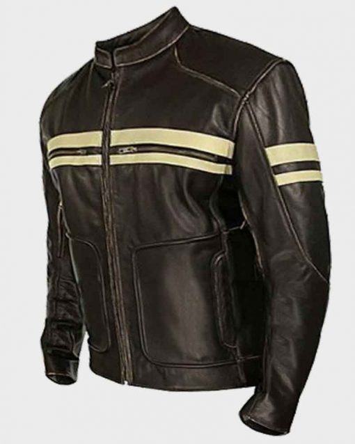 Mens Café Racer Dark Brown Retro Leather Jacket