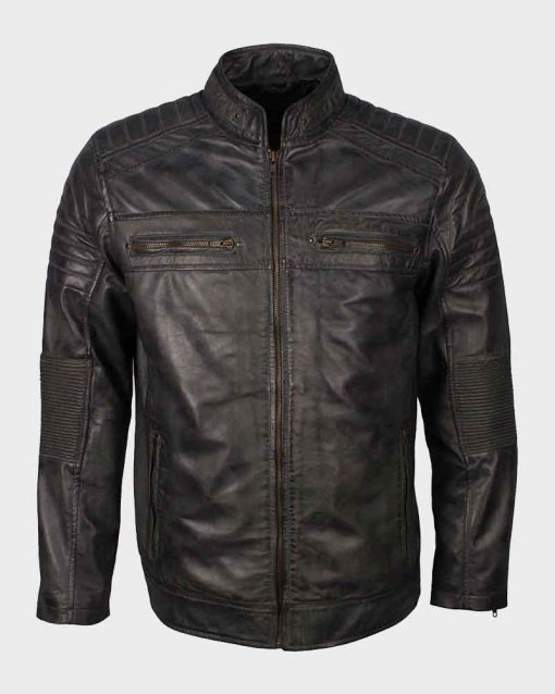 Mens Café Racer Shoulder Padded Grey Waxed Biker Leather Jacket