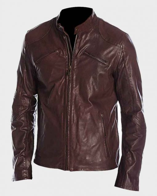 Mens Café Racer Maroon Biker Leather Jacket