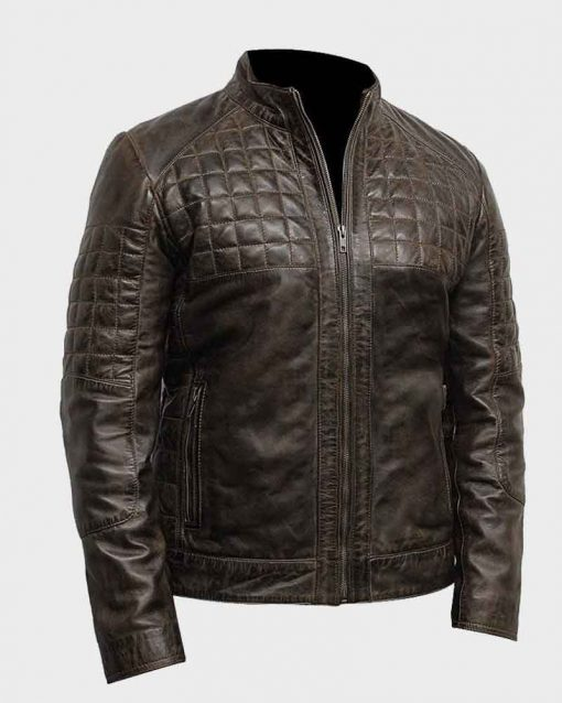 Mens Quilted Design Brown Café Racer Leather Jacket