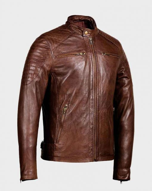 Mens Café Racer Distressed Leather Brown Jacket