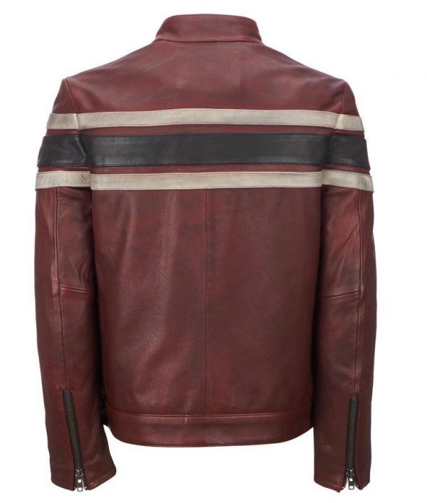 Retro Style Mens Cafe Racer Red Vintage Leather Jacket