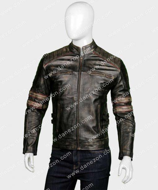 Mens Café Racer Retro Distressed Leather Jacket