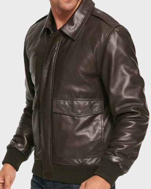 Casual Mens Brown Bomber Leather Jacket