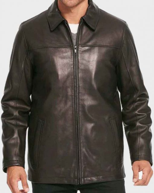 Mens Black Casual Shirt Style Collar Leather Jacket