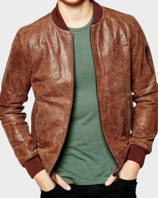 Distressed Leather Mens Dark Brown Bomber Jacket