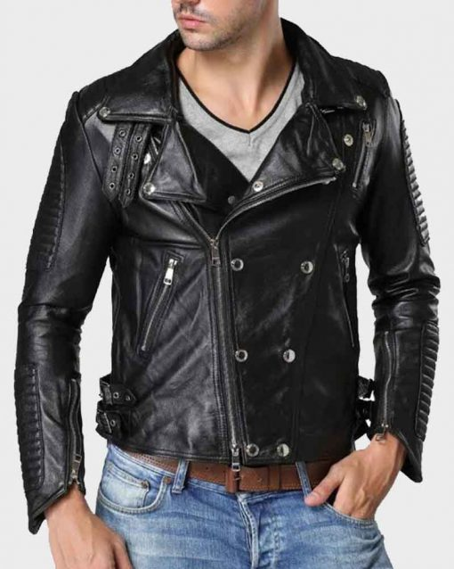 Mens Double Breasted Black Motorcycle Leather Jacket