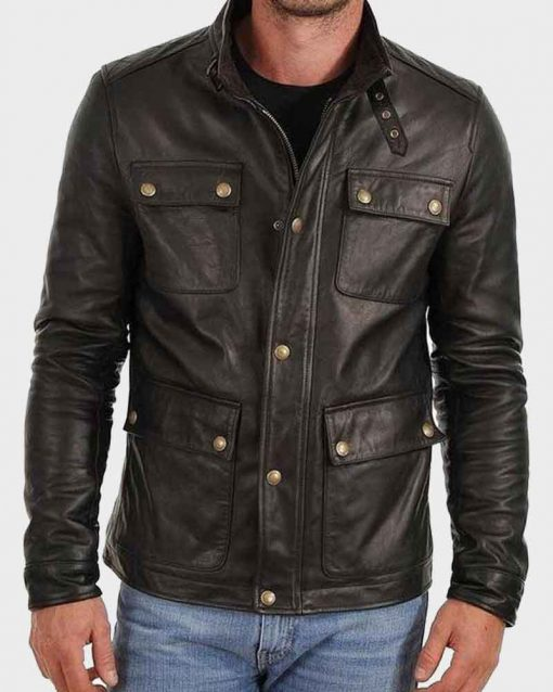 Café Racer Mens Four Pocket Black Leather Jacket