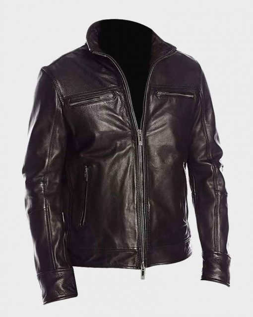 Mens Black Classic Stand Up Collar Biker Leather Jacket