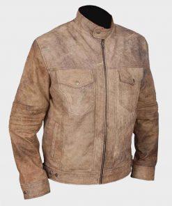 Mens Café Racer Khakhi Distressed Leather Jacket