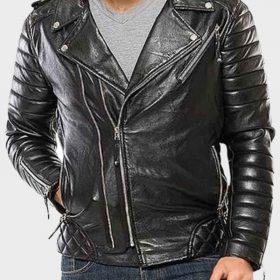 Motorcycle Mens Black Padded Leather Jacket