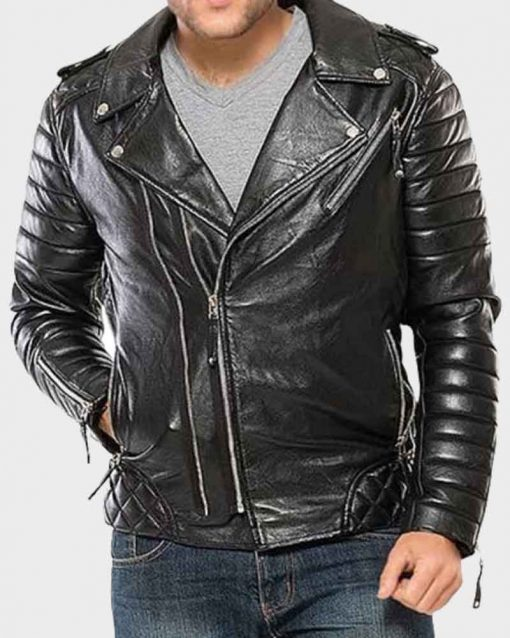 Mens Classic Motorcycle Black Padded Leather Jacket