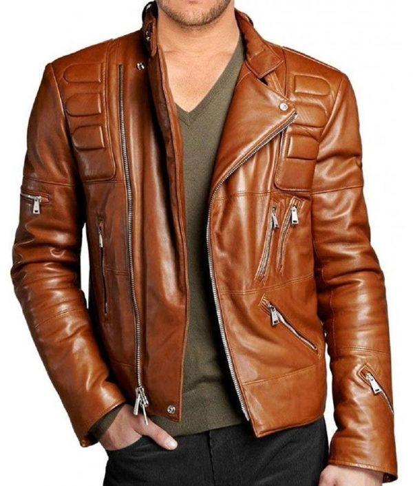 Mens Slim Fit Motorcycle Padded Brown Leather Jacket