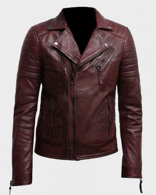 Mens Motorcycle Style Double Zip Burgundy Leather Jacket