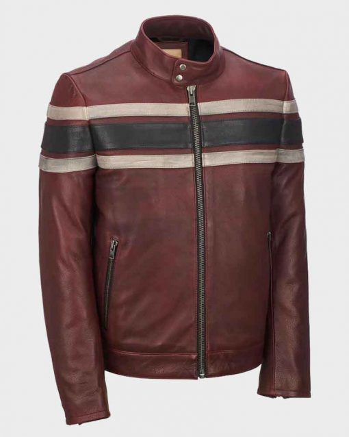 Mens Red Waxed Retro Stripe Vintage Leather Jacket