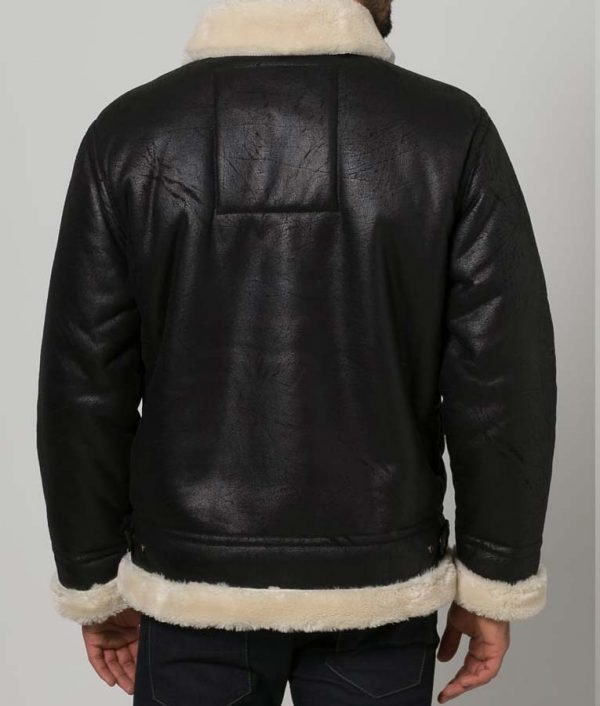 Black Aviator Style Mens Shearling Leather Jacket