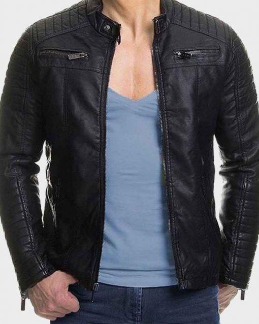 Mens Slimfit Padded Style Black Leather Jacket